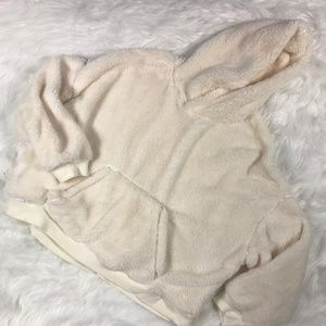 H&M womens size Large fuzzy hoodie 3/4 sleeves